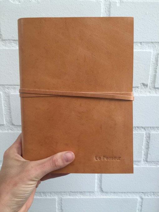 Rustic leren notitieboek met naam