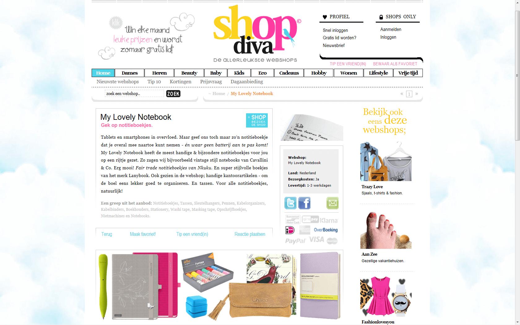 vermelding op ShopDiva.nl