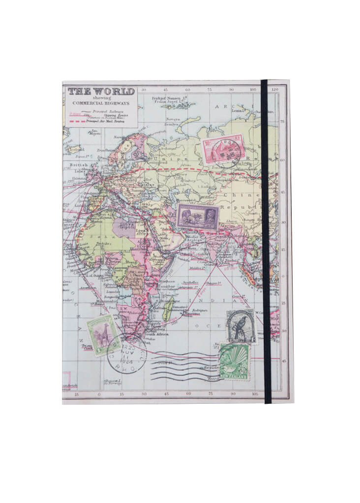 Wereldkaart notitieboek A5