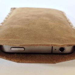 Leren telefoon hoesje iPhone 4 licht bruin