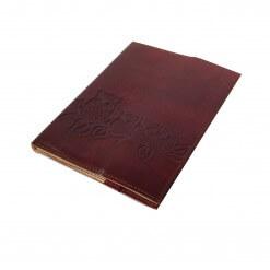 Leren notitieboekje met uilen