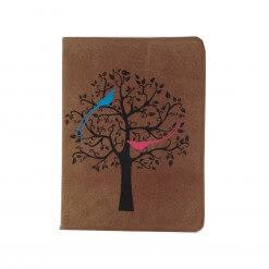 Suede notitieboekje met vogels bruin