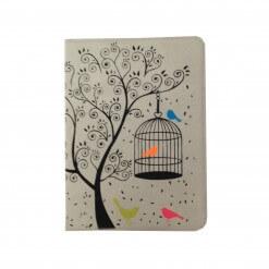 Suede notitieboekje met vogels grijs