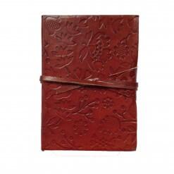 Bruin leren notitieboekje blaadjes