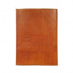 Bruin leren notitieboek met uilen tan