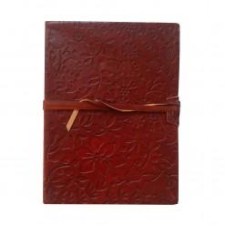 Bruin leren notitieboek blaadjes A5