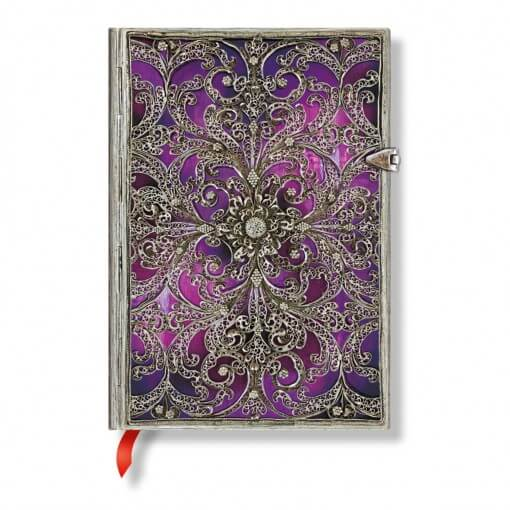 Paperblanks notitieboek Silver Filigree Aubergine Midi