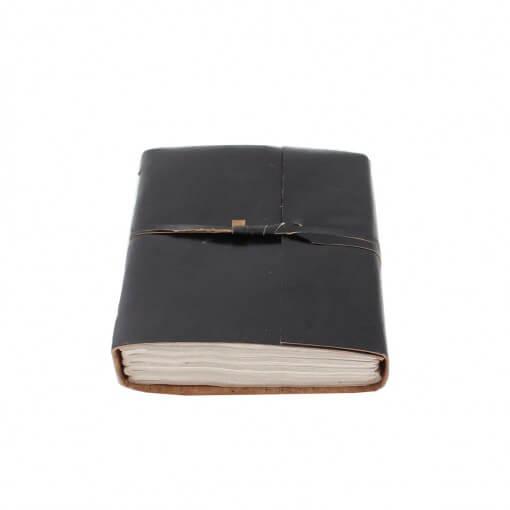 Zwart leren notitieboek medium