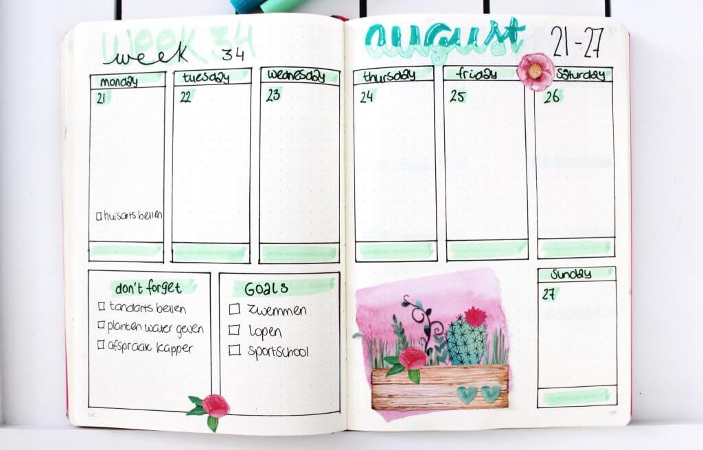 5 x simpele weekly spreads voor je Bullet journal