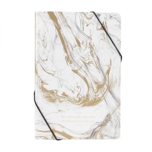 2 marmeren schriften met elastiek