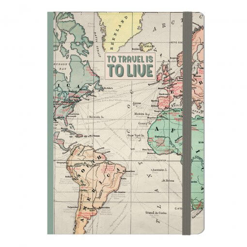 Legami notitieboek wereldkaart to travel is to live