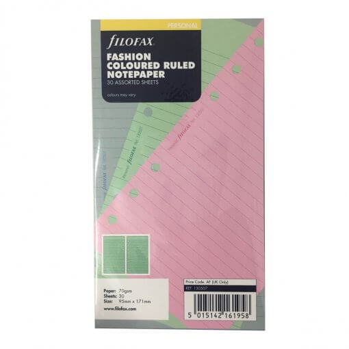 Filofax navulling organizer personal gekleurd gelinieerd papier