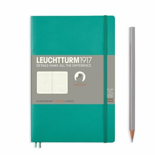 Leuchtturm1917-notitieboek-softcover-b6-dotted-emerald