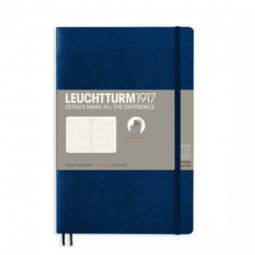 Leuchtturm1917-notitieboek-softcover-b6-dotted-navy-blue-