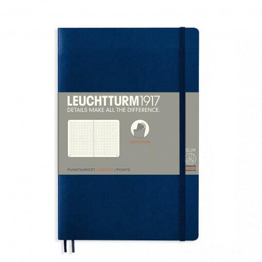 Leuchtturm1917-notitieboek-softcover-b6-dotted-navy-blue-