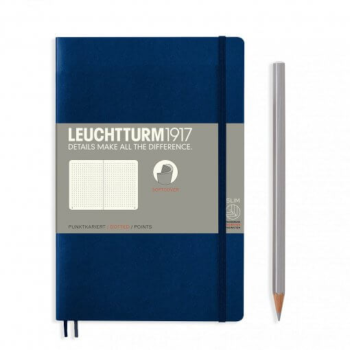 Leuchtturm1917-notitieboek-softcover-b6-dotted-navy-blue