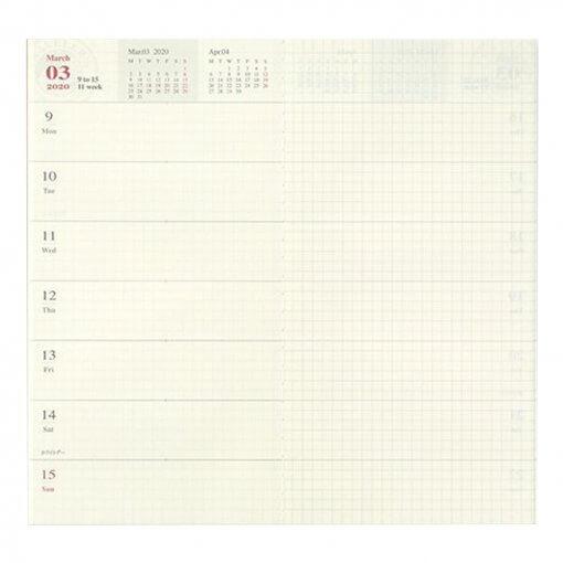 Midori Traveler's Notebook navulling diary weekly + memo 2020 2