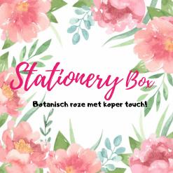 Stationery box botanisch roze