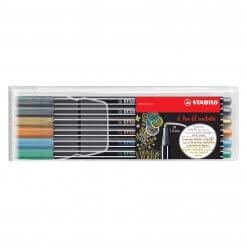 Stabilo-Pen-68-Metallic-Viltstift-Etui-6-stuks