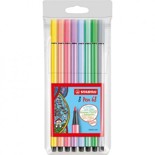 Stabilo-Pen-68-Pastel-Etui-8-kleuren-