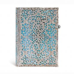 Paperblanks-notitieboek-Silver-Filigree-Maya-Blue-Midi