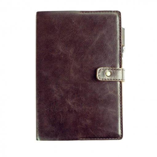 SELF-journal-shield-bruin-leer