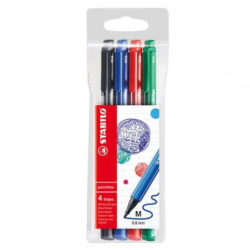 Stabilo Pointmax Fineliner - Etui 4 kleuren (zwart, blauw, rood en groen)