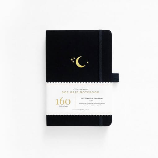 Archer and Olive Notebook Dot Grid - Crescent Moon voor