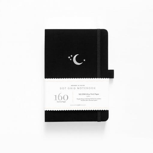 Archer and Olive Notitieboek Dot Grid - Silver Crescent