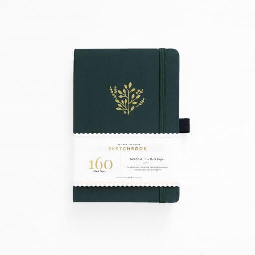 Archer and Olive Schetsboek Blanco - Deep Green