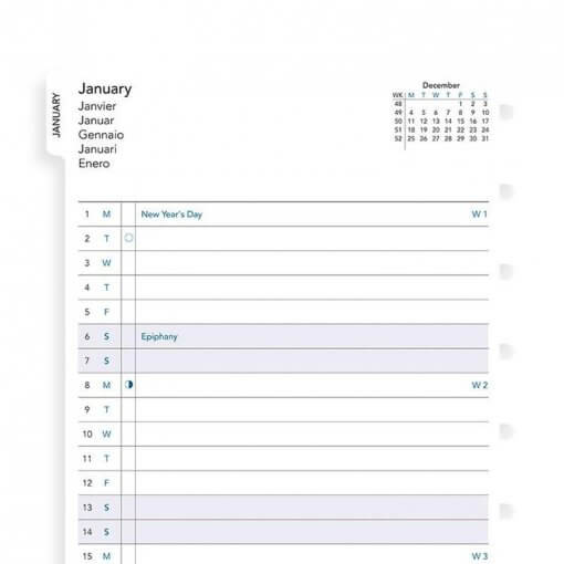 Filofax navulling A5 notitieboek - Month planner 2020