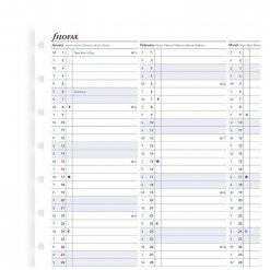 Filofax navulling A5 notitieboek - Year planner 2020