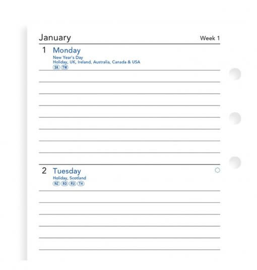 Filofax navulling organizer personal - Week on two pages diary 2020 (lijntjes)