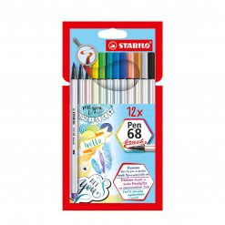 Stabilo Pen 68 Brush Viltstiften - Etui 12 kleuren