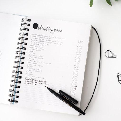 Balans-planner-binnenkant-inhoudsopgave