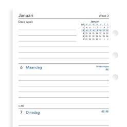 Filofax navulling organizer personal - Week op twee pagina's jaarvulling 2021 (lijntjes)