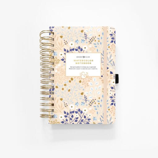 Archer and Olive Watercolor Dot Grid Notebook - Blush A Bye