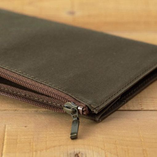 Midori Traveler's Notebook navulling Cotton Zipper Case Olive 2