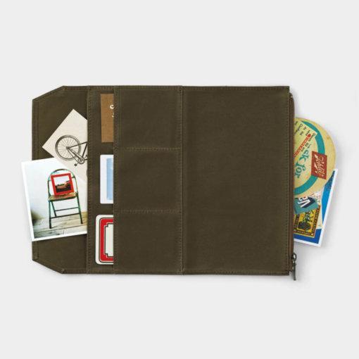 Midori Traveler's Notebook navulling Cotton Zipper Case Olive 3
