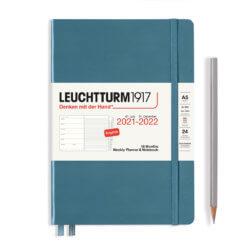 Leuchtturm1917 Weekly Planner & Notebook 18 Months 2021-2022 Stone Blue