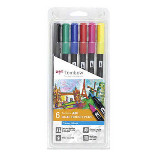 Tombow ABT set van 6 Primary Colors