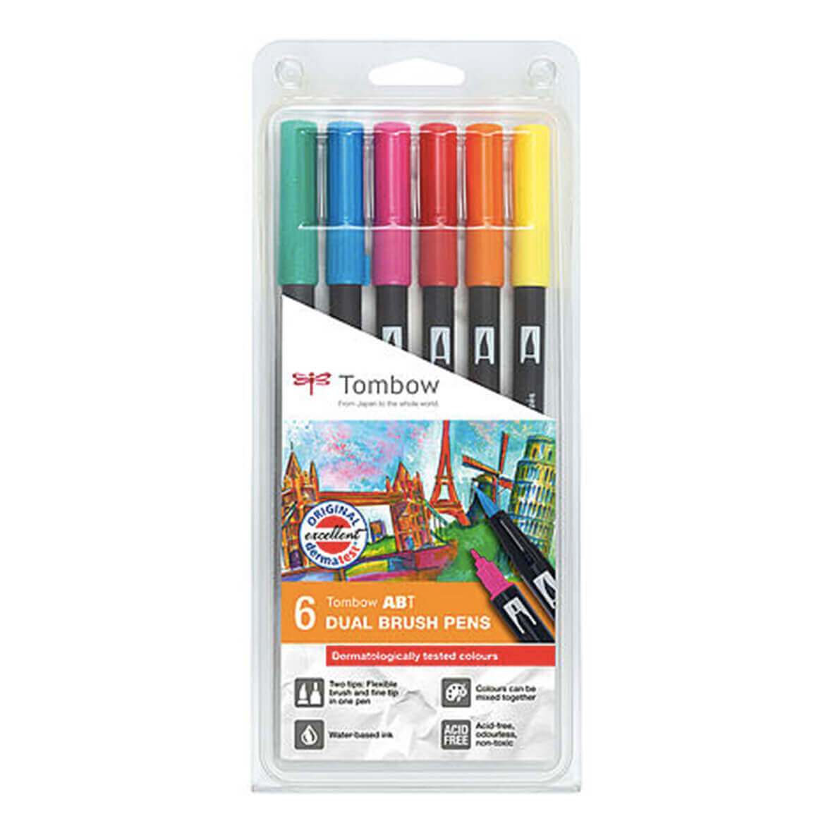 Tombow ABT set van 6 Dermatologically Tested Colors