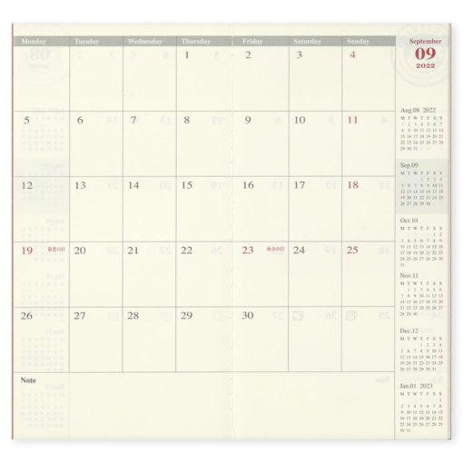 Midori Traveler's Notebook navulling Monthly 2022 1
