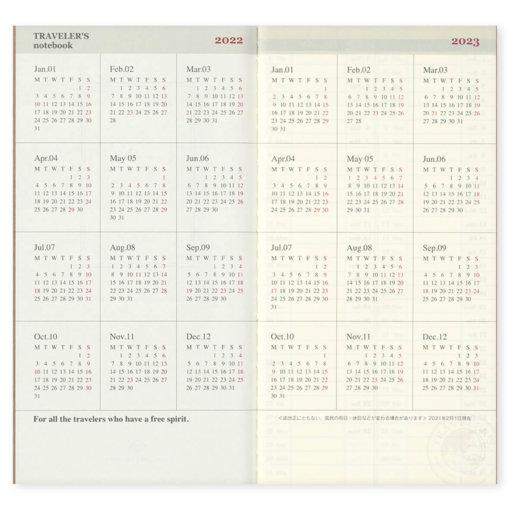 Midori Traveler's Notebook navulling Monthly 2022 2